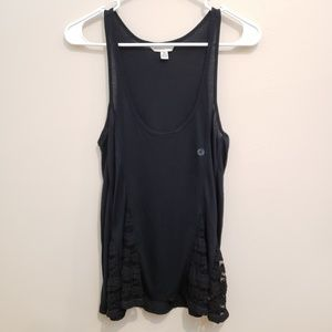 NWOT AEO Black Flowy Lace Accented Tank Top - S